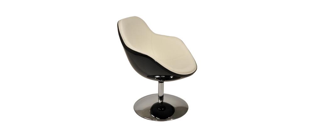 Fauteuil design r tro blanc et noir new stanley zoom for Chaise noir et blanc
