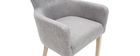 Fauteuil classique tissu gris clair pieds bois clair LAZARRE