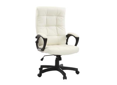 Fauteuil de bureau cuir design blanc LORENZO