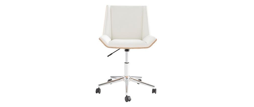 Fauteuil de bureau design blanc et bois clair MELKIOR