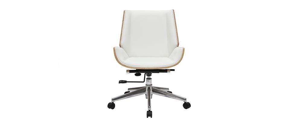 Fauteuil de bureau design bois clair et blanc CURVED