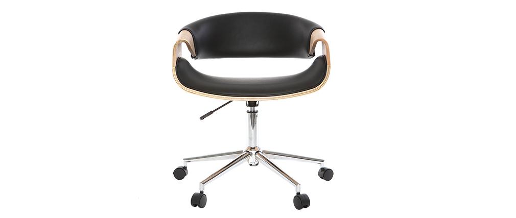Fauteuil de bureau design noir et bois clair ARAMIS