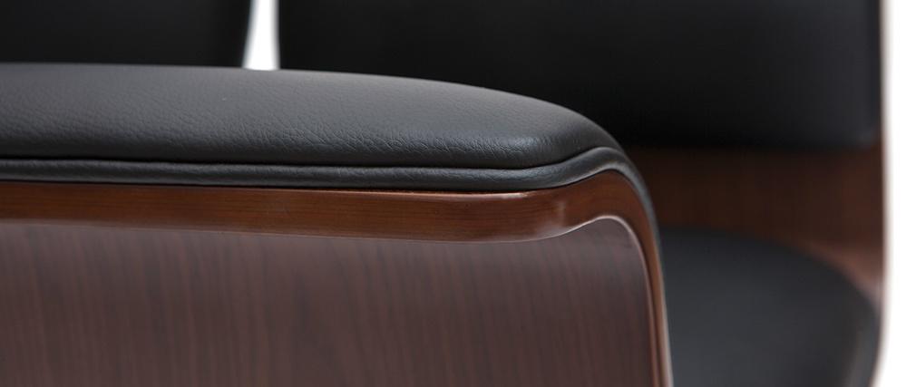 Fauteuil de bureau design noir et bois foncé ELON