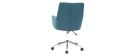 Fauteuil de bureau design tissu bleu canard SHANA