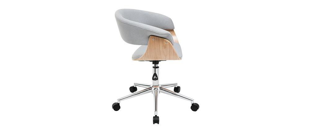 Fauteuil de bureau design tissu gris et bois clair OKTAV