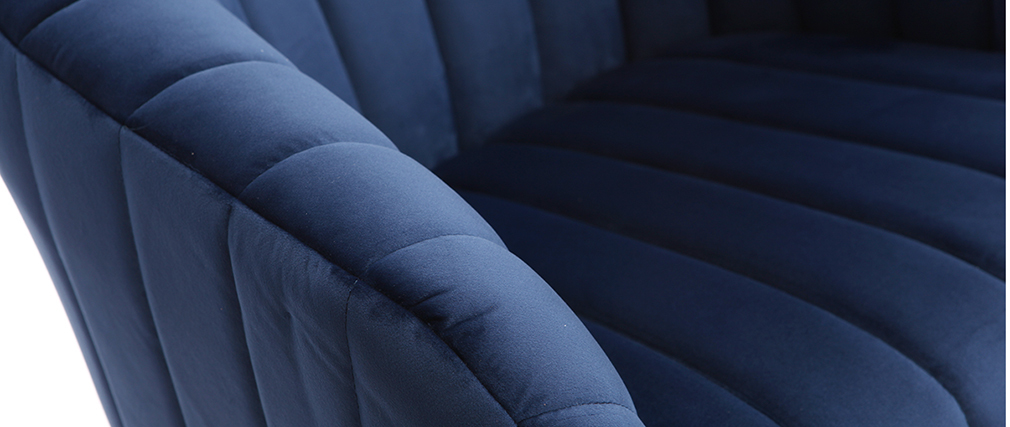 Fauteuil de bureau velours bleu foncé ROMI