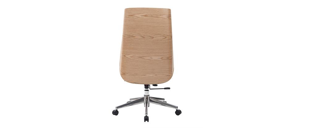 Fauteuil de direction design bois clair et blanc CURVED