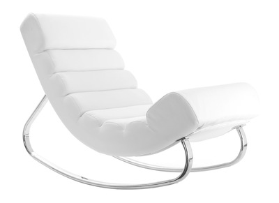 Fauteuil design blanc rocking chair TAYLOR