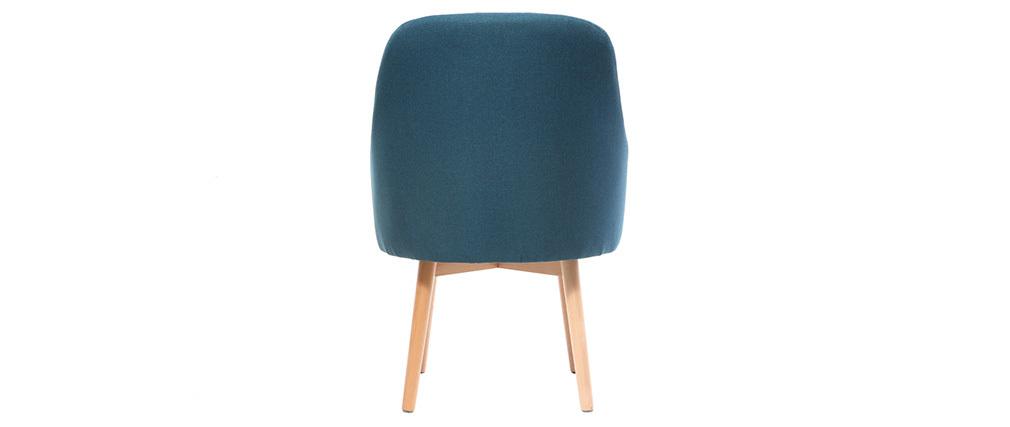 Fauteuil design bleu canard pieds bois clair MONA
