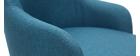 Fauteuil design en tissu bleu canard et pieds métal noir AMON