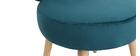 Fauteuil design en velours bleu canard et pieds bois TANAKA