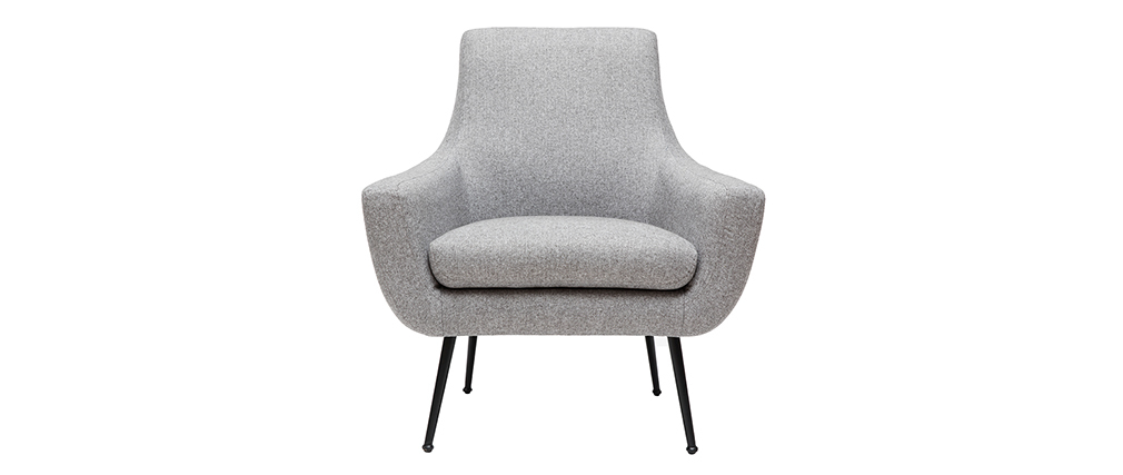 Fauteuil design gris clair et métal noir MONTANA