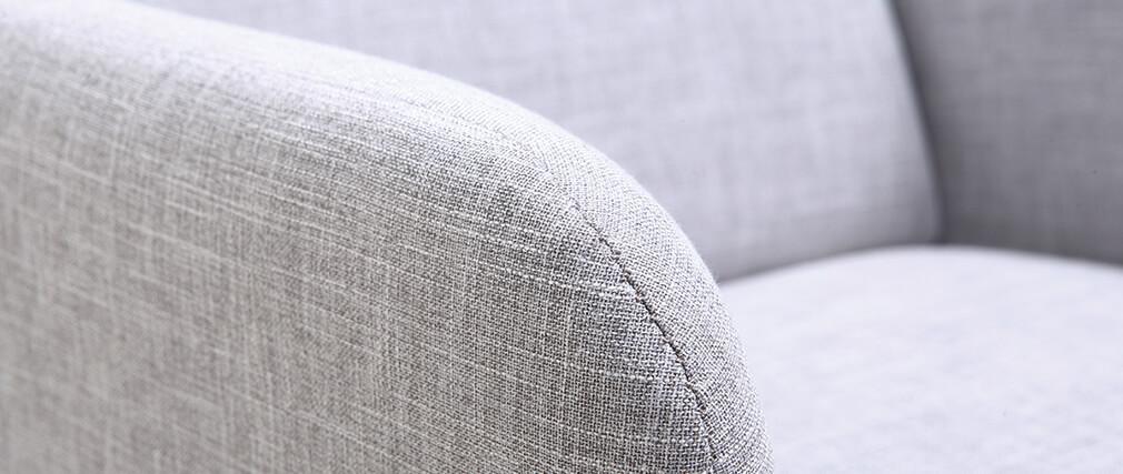 Fauteuil design gris perle et pieds metal BART