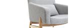 Fauteuil design gris pieds bois KYOTO