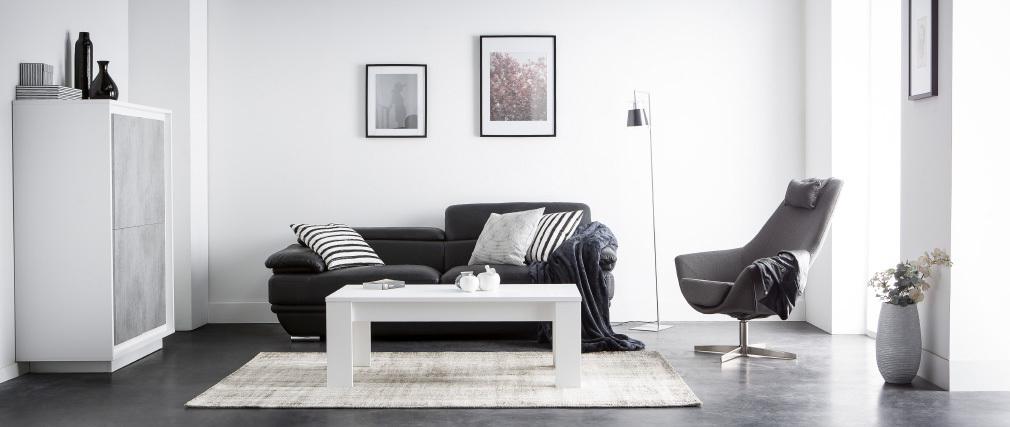 Fauteuil design pivotant tissu gris foncé et pied métal AMADEO