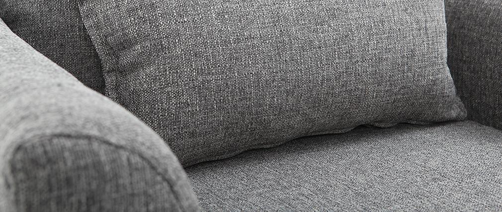Fauteuil design tissu gris et chêne KATE