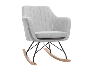 Fauteuil rocking chair scandinave tissu gris clair ALEYNA