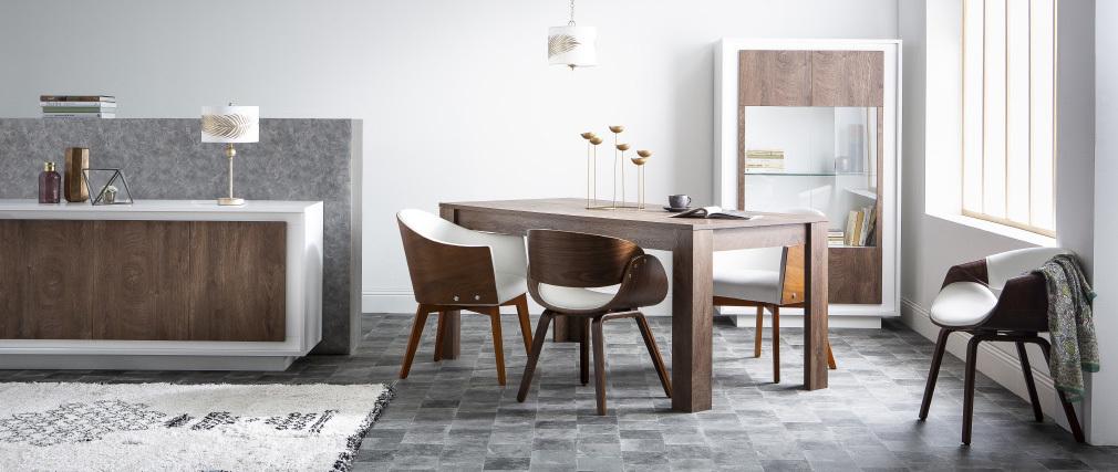 Fauteuil scandinave blanc et bois clair ARAMIS