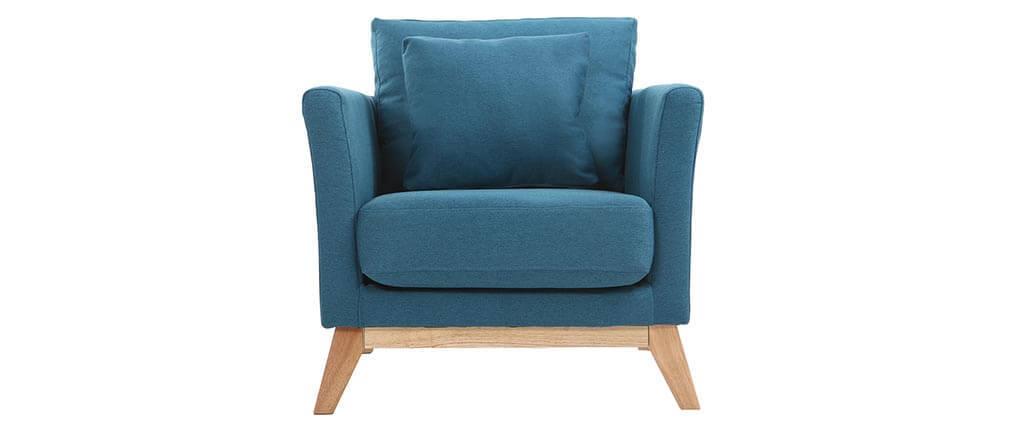 Fauteuil scandinave déhoussable bleu canard et bois clair OSLO
