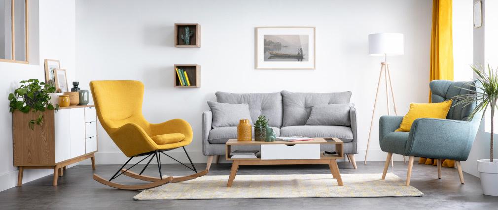 Fauteuil scandinave en tissu vert et bois AVERY - Miliboo & Stéphane Plaza