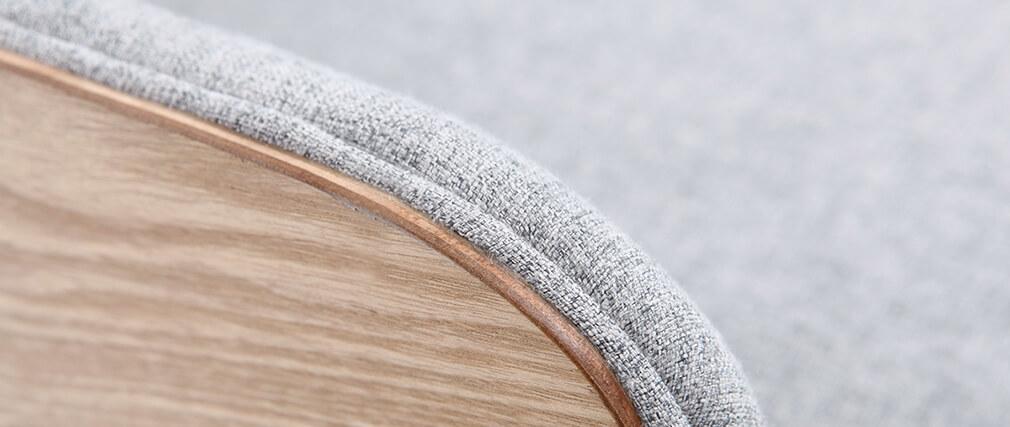 Fauteuil scandinave gris perle pieds bois VALMY