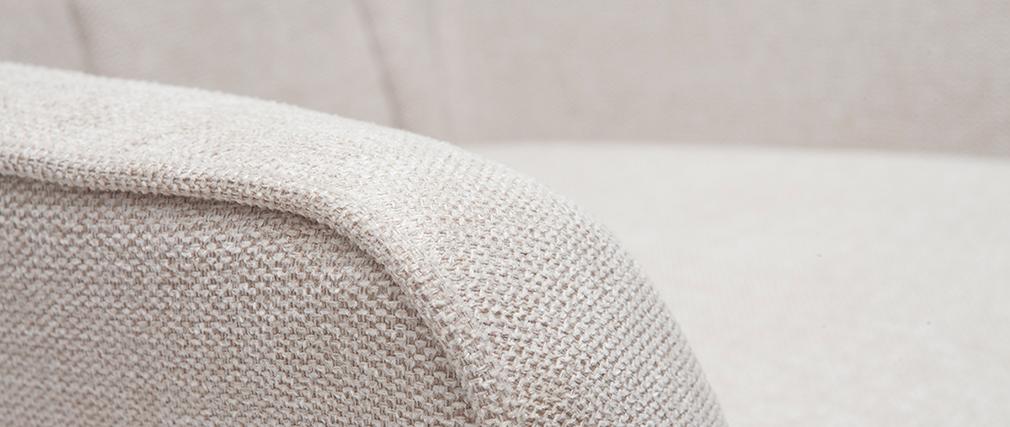 Fauteuil scandinave tissu effet velours texturé beige AVERY