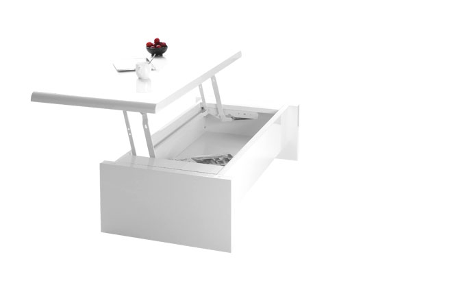 table basse design reglable blanche avec rangement lola