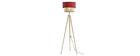 Lampadaire bimatière jute et tissu rouge D40 cm CHILL