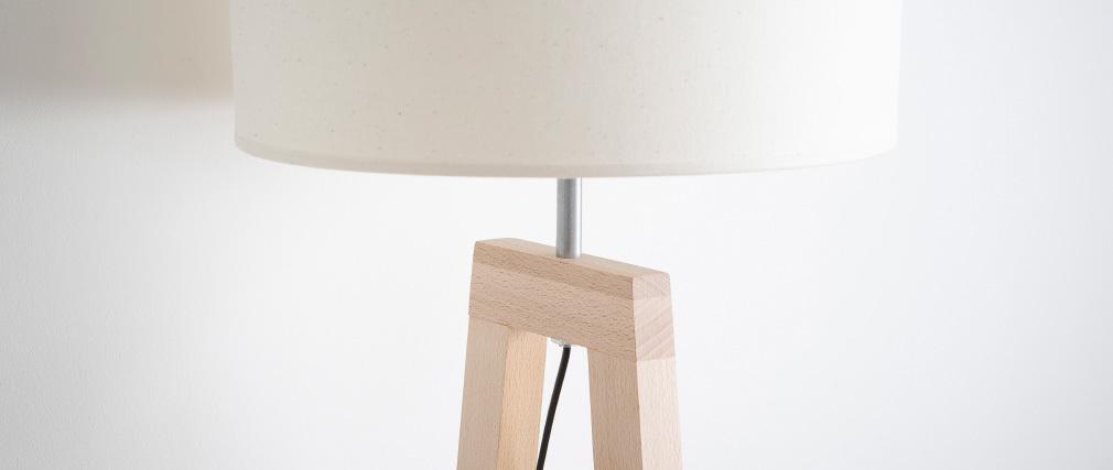 Lampe à poser design pied bois naturel MANON