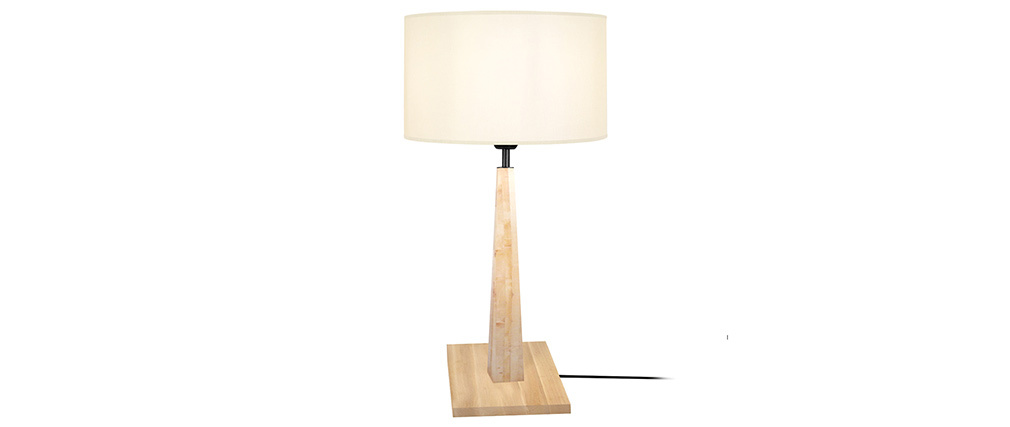 Lampe à poser écru avec pied bois NIDRA