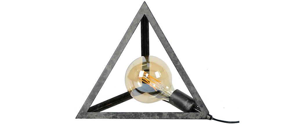 Lampe à poser pyramide argent vieilli LOUVRE