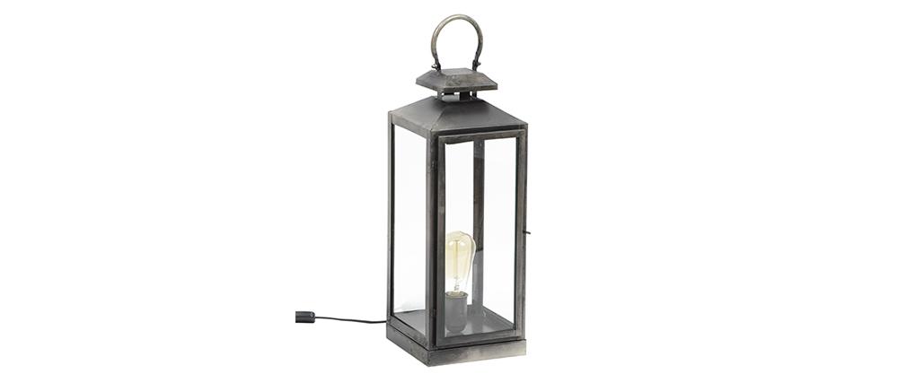 Lampe de table lanterne argent vieilli LANTERNA