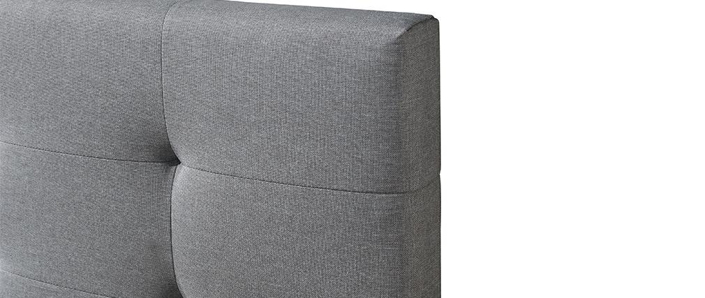 Lit 160 x 200 en tissu gris capitonné MARQUISE