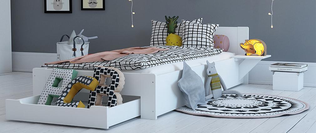 Lit 90x190 design blanc avec tiroir de rangement et chevet LORIS