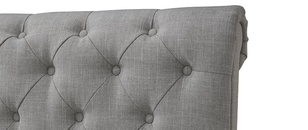 Lit design deux places 160*200 gris RILEY