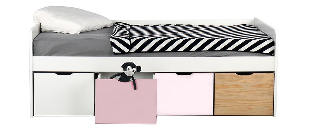 Lit enfant avec rangements 4 tiroirs bois, blanc et rose MOLENE