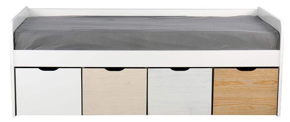 Lit enfant avec rangements 4 tiroirs bois et blanc MOLENE