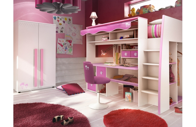 lit mezzanine enfant rose et blanc marchande miliboo. Black Bedroom Furniture Sets. Home Design Ideas