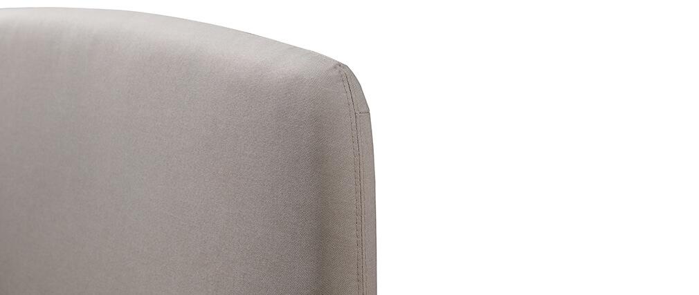 Lit scandinave 140x200 cm en tissu beige NIELS