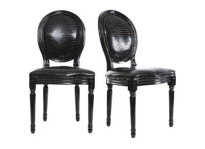 Lot de 2 chaises baroque Louis XVI noir MEDAILLON