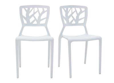 Lot de 2 chaises design blanches empilables KATIA