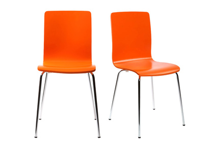 Lot de 2 chaises design cuisine oranges NELLY