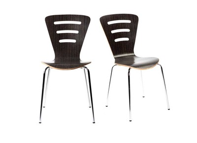 Lot de 2 chaises design empilables bois noir LENA