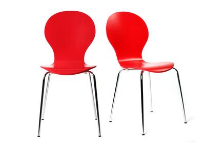 Lot de 2 chaises design empilables rouges NEW ABIGAIL