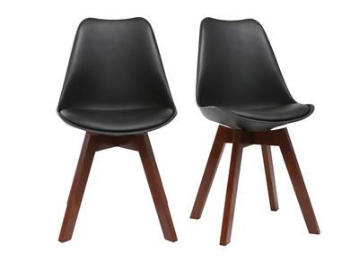 Lot de 2 chaises design noir et noyer PAULINE