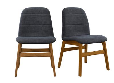 Lot de 2 chaises design pieds noyer tissus gris anthracite JUKE