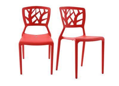 Lot de 2 chaises design rouges empilables KATIA
