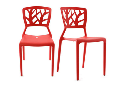 Lot de 2 chaises design rouges  KATIA