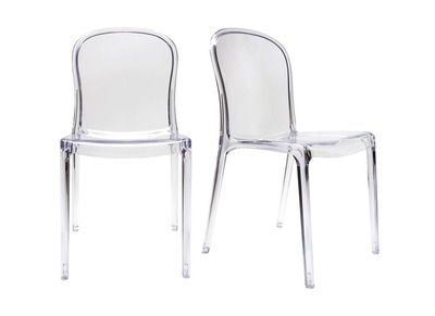 Lot de 2 chaises empilables design transparentes polycarbonate THALYSSE