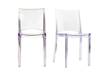 Lot de 2 chaises transparentes design KALYA